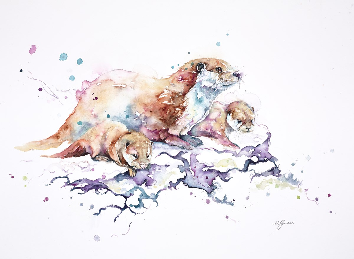 First Adventure - Otter with Pups by amanda gordon -  sized 27x18 inches. Available from Whitewall Galleries